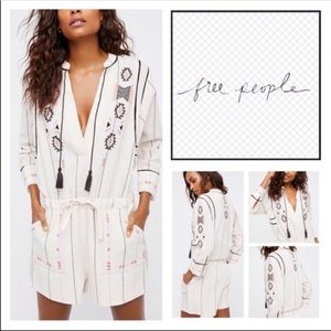 Free People Baja Embroidered Romper Playsuit With Pockets S